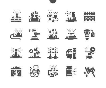 Automatic lawn watering Well-crafted Pixel Perfect Vector Solid Icons 30 2x Grid for Web Graphics and Apps. Simple Minimal Pictogram Vettoriali