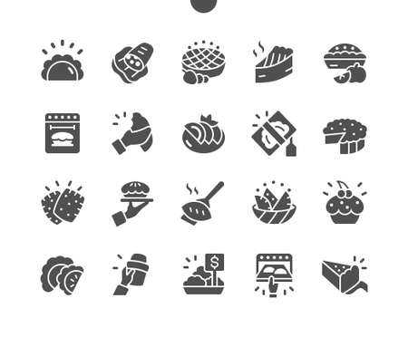 Pies and Pasties Well-crafted Pixel Perfect Vector Solid Icons 30 2x Grid for Web Graphics and Apps. Simple Minimal Pictogram