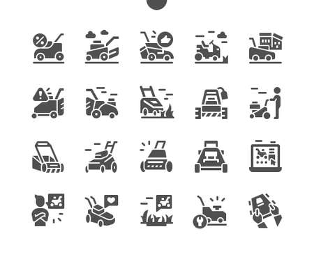 Lawn mover on grass. Machine for cutting lawns. Equipment for lawn and grass. Vector Solid Icons. Simple Pictogram