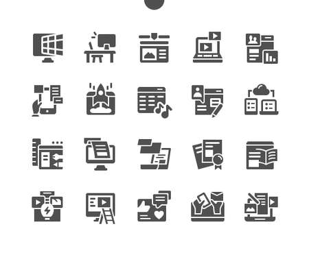 Web content. Marketing strategy. Video, text, information, site, blog, communication, management. Vector Solid Icons. Simple Pictogram