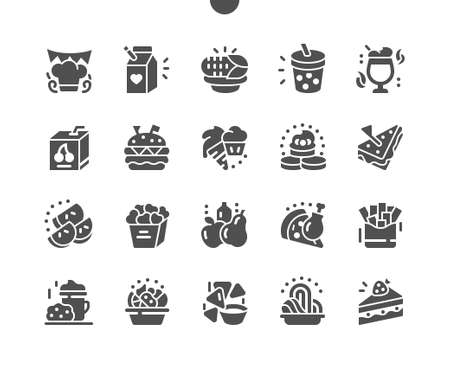 Kids meals. Delicious hamburger, pizza, juice, corn, sandwich for kids party. Kids menu for restaurant and cafe. Vector Solid Icons. Simple Pictogram Illustration