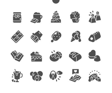 Chocolate. Lumps, shavings, cocoa. Assorted chocolates. Milk chocolate pieces. Menu for restaurant and cafe. Vector Solid Icons. Simple Pictogram