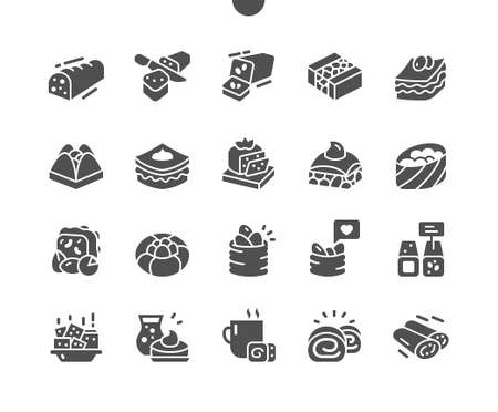 Sweet traditional arabic pastry. Sweet dessert. Middle eastern, Turkish sweet pastry baklava. Menu for restaurant and cafe. Vector Solid Icons. Simple Pictogram