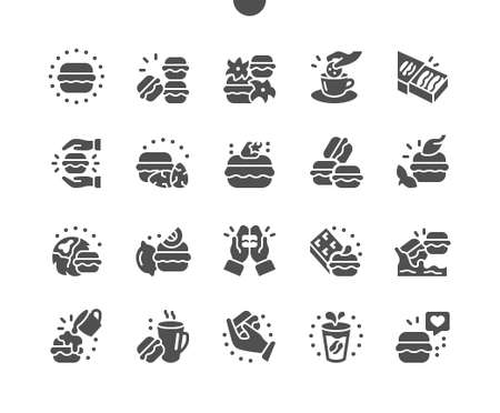 Delicious macarons cakes. Small french cakes. Bakery pastry. Menu for restaurant and cafe. Vector Solid Icons. Simple Pictogram