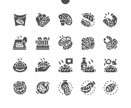 Mexican hot tacos. Tacos cooking and ingredients for tacos. Mexican cuisine. Fast food. Menu for restaurant and cafe. Vector Solid Icons. Simple Pictogram Ilustrace