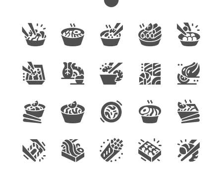 Asian food. Thai noodles and rice noodles. Delicious boiled shrimps, vegetables. Traditional seafood paella. Menu for restaurant and cafe. Vector Solid Icons. Simple Pictogram