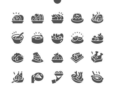 Plates with different food. Ceramic dishes pile. Restaurant kitchen. Menu for restaurant and cafe. Vector Solid Icons. Simple Pictogram Stock Illustratie