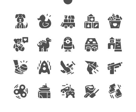 Baby kids toys. Teddy bear, puzzle toy, wooden train and teddy bear. Kids game. Vector Solid Icons. Simple Pictogram