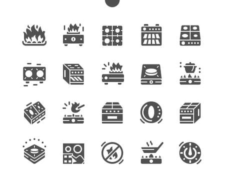 Home appliances. Stove. Electric kitchen range cooker with burner cooktop. Vector Solid Icons. Simple Pictogram