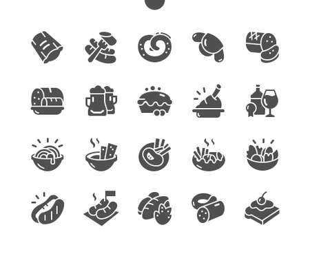 Traditional German cuisine. Beer, pretzels and various bavarian specialties. Menu for restaurant and cafe. Vector Solid Icons. Simple Pictogram