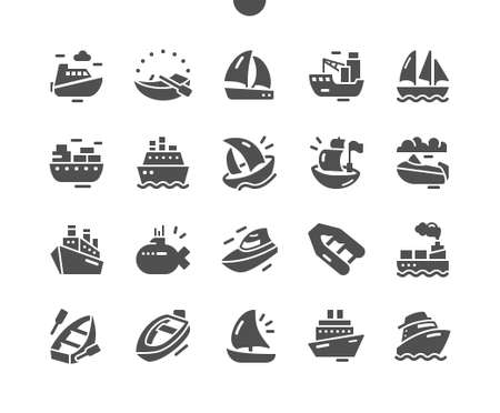 Sailing boat. Logistics and transportation of an international container cargo ship. Ships and Boats. Vector Solid Icons. Simple Pictogram Vettoriali