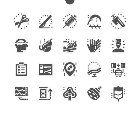 Surgery, medicine. Surgical instruments. Surgical suturing needle, saw. Hospital surgery room, equipment. Surgeon. Vector Solid Icons. Simple Pictogram