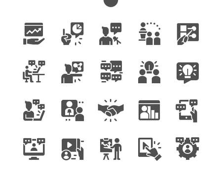 Business conference. Online conference. Businesswoman using laptop. Speaker at a business conference and presentation. Conference call. Active discussion. Vector Solid Icons. Simple Pictogram