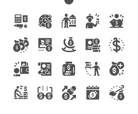 Pension Funds. Money box. Pensioner card and bank. Accounting and finance. Grandparents money. Pension savings. Vector Solid Icons. Simple Pictogram