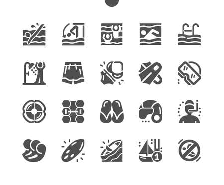 Swimming pool, slippers, swimming flippers, waves, diving mask and surfboard. Activity, sport, game and competition. Vector Solid Icons. Simple Pictogram Ilustração