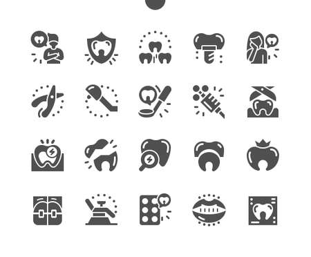 Dentist. Protection teeth. Medical. Good teeth. Removal tooth. Pain reliever syringe. Dental, doctor, clinic, care, medicine and healthcare. Vector Solid Icons. Simple Pictogram Vektoros illusztráció