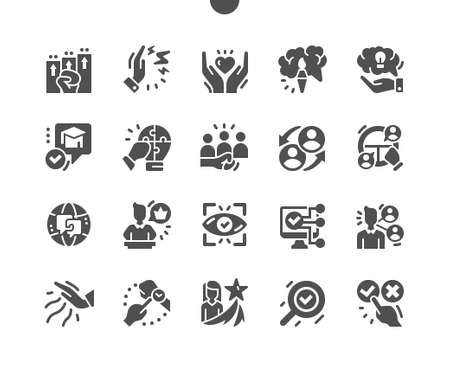 Life skill. Creative thinking, leadership skills, educability. Computer knowledge. Influence and timeliness. Vector Solid Icons. Simple Pictogram Vectores