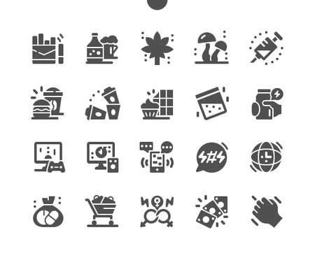 Bad habits. Unhealthy lifestyle. Smoking, hallucinogenic mushrooms, alcohol and drugs. Promiscuous relations. Games of chance. Vector Solid Icons. Simple Pictogram