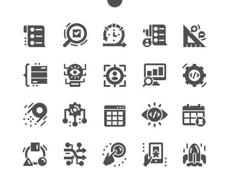 Agile development. Resource allocations. Process, software, quality, strategy. Project model. Code review. Vision and target user. Vector Solid Icons. Simple Pictogram