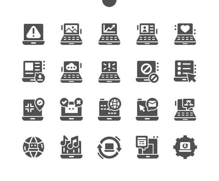 Laptop. Favorite gadget, computer, device, hardware. Data download. Network access. Charts and tables. Work in editors. Vector Solid Icons. Simple Pictogram