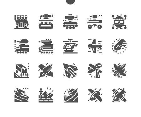 Future military equipment. Wartime, martial, soldierly. Combat aircraft. Supersonic plane. Military tank, robot, plane, helicopter. Innovation and technology. Vector Solid Icons. Simple Pictogram