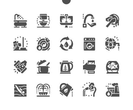 Water consumption. Water use in production. Water for washing dishes, cleaning, aquarium, irrigation. World water reserves. Vector Solid Icons. Simple Pictogram Ilustração