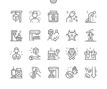 Chemotherapy. Intravenous therapy system. Radioactive cancer. Drugs and treatment. Health care, medical and medicine. Pixel Perfect Vector Thin Line Icons. Simple Minimal Pictogram