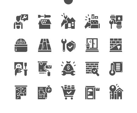 General repair concepts. Apartment renovation. Wallpapering. Repair costs. Climate and ventilation. Water supply. Vector Solid Icons. Simple Pictogram
