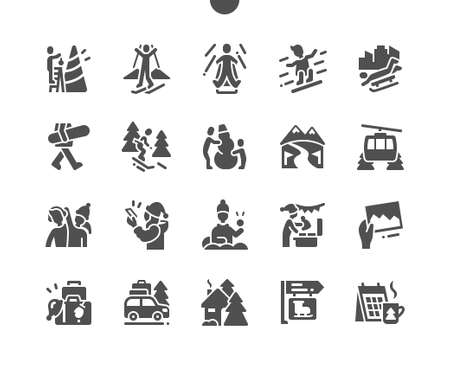 Winter vacation. Ice skating, play snowballs, snowboarding and skiing. Winter holidays in the mountains. Decorate the christmas tree. Vector Solid Icons. Simple Pictogram