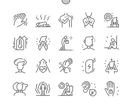 Panic disorder. Tremor and heartache. Pressure increase. Illness, unhappy and despair. Health care, medical and medicine. Pixel Perfect Vector Thin Line Icons. Simple Minimal Pictogram