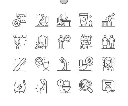 Hemorrhoids. Abdominal pain. Movements, hygiene, digestion, fistula, intestine and diarrhea. Health care, medical and medicine. Pixel Perfect Vector Thin Line Icons. Simple Minimal Pictogram