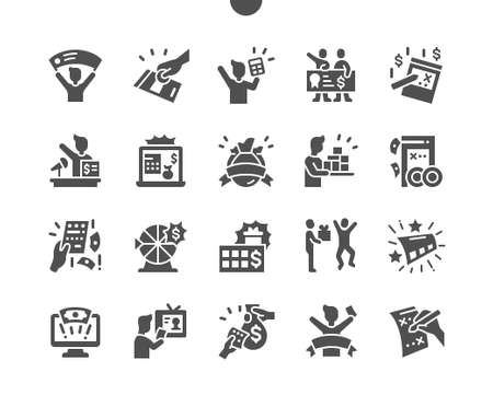 Huge lottery win. Winning ticket. Gambling, huge, money, prize, reward, achievement, target, winner and victory. Vector Solid Icons. Simple Pictogram