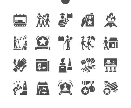 Victory Day 9 May. Calendar. War veteran. Monuments to the heroes. Ninth of may. Holiday. Winner, parade, soldier, memory, win and freedom. Vector Solid Icons. Simple Pictogram Vecteurs