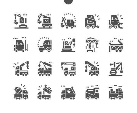 Special machinery. Manipulator, road roller, dump truck, excavator, and crane. Special equipment for cargo transportation. Construction and vehicle. Vector Solid Icons. Simple Pictogram