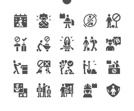 World Day Against Child Labour 12 June. Mass protests. Calendar. Twelfth of june. Children work. Conferences. Child protection. Vector Solid Icons. Simple Pictogram