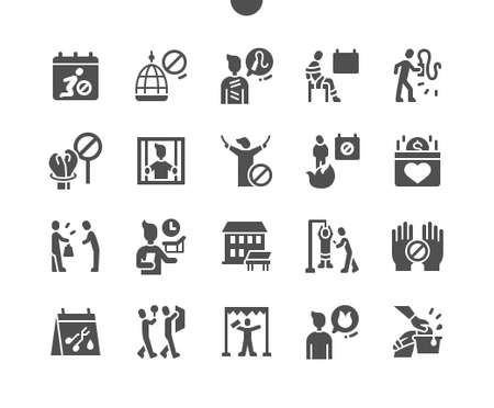 Support Victims Torture Day 26 June. Rehabilitation center. Calendar. Twenty sixth of june. Voluntary fund. Psychologist. Shock scars. Vector Solid Icons. Simple Pictogram