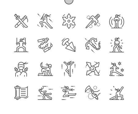 Ninja. Katana and scabbard. Kaginawa. Action, asia, combat, battle, warrior, training. Pixel Perfect Vector Thin Line Icons. Simple Minimal Pictogram