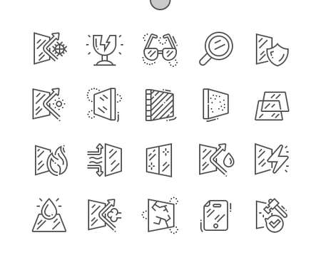 Glass properties. Glass for windows. Broken glass. Fragile glass. Pixel Perfect Vector Thin Line Icons. Simple Minimal Pictogram