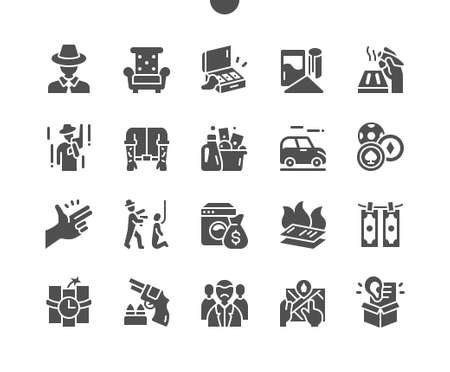 Mafia. Blood money. Retro car. Cigars, casino, bang, killer, godfather and crime. Intimidation. Vector Solid Icons. Simple Pictogram