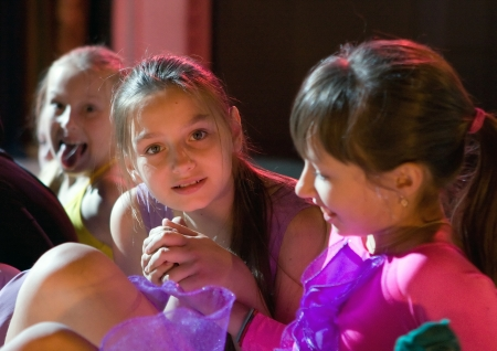 rehearsal: School-theatre of modern dance POTOKI,Dnepropetrovsk, Ukraine -June 2, 2011. Summer Entertainment (City Windows).Teenagers class dancers. General rehearsal before the concert Editorial