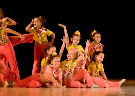 School-theatre of Modern dance POTOKI, Dnepropetrovsk, Ukraine - February 2011, Winter Entertainment (Faces). Kids class  perform composition Birthday Party Editorial