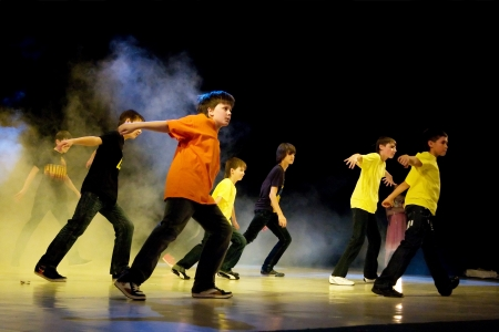 School-theatre of Modern dance POTOKI, Dnepropetrovsk, Ukraine - February 2011, Winter Entertainment (Faces). Sport boys class perform composition Street movements