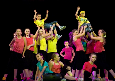 School-theatre of modern dance POTOKI,Dnepropetrovsk, Ukraine -June 5, 2012  Summer Entertainment  Polyphony.  Teenager and sport classes  perform composition  Street movements
