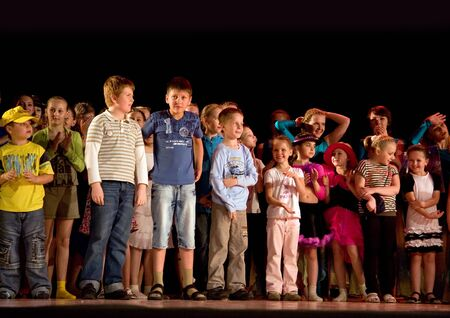 School-theatre of modern dance POTOKI,Dnepropetrovsk, Ukraine -June 5, 2012. Summer Entertainment  Polyphony. Final awarding on a stage of the local theatre Editorial