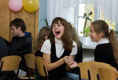 secondary education: DNEPROPETROVSK,UKRAINE - November, 2011:Lyceum of Information Technologies,Dnepropetrovsk. Autumn Educational  Event, freshers enjoy the atmosphere