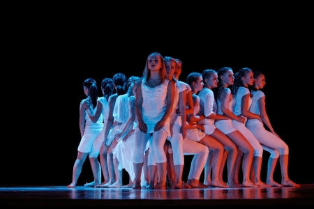 DNEPROPETROVSK,UKRAINE - JUNE 3, 2013 - School-theatre of Modern dance POTOKI,Dnepropetrovsk  Senior class dancers perform composition  The chair   Summer Annual Entertainment  A Workshop of Smiles