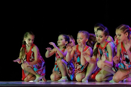 DNEPROPETROVSK,UKRAINE - JUNE 3, 2013 - School-theatre of Modern dance POTOKI,Dnepropetrovsk  Children class dancers perform composition  Children Dreams  Summer Annual Entertainment  A Workshop of Smiles  Editorial
