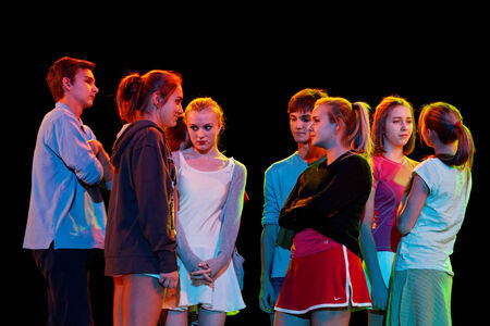 DNEPROPETROVSK,UKRAINE - December 7, 2013 - School-theatre of Contemporary dance POTOKI, Dnepropetrovsk  Senior Class Students at General Rehearsal for Winter Annual Entertainment Fusion