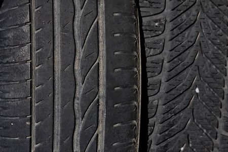 tire tread close up, background geometry design Stock Photo