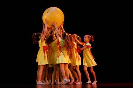 DNEPROPETROVSK,UKRAINE - DECEMBER 13, 2014 - School-theater of Contemporary dance POTOKI, Dnepropetrovsk, children class dancers perform at  Winter Annual Entertainment Let the Sun in